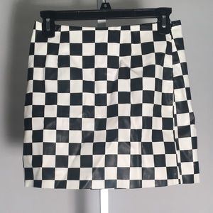 Checkered Leather Body-con Skirt